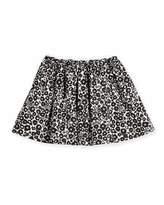Burberry Gabriella Floral Poplin Skirt, Black/White, Size 4-14