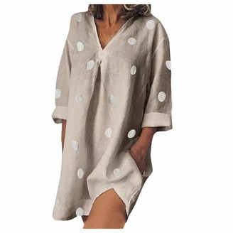 AMhomely Women Dresses Promotion Sale Clearance Women Printing V Collar Loose Big Code Cotton and Linen Long Sleeves Dress Plus Size Dress Party Elegant Dress Vintage Dress UK Size S - XXXXL Gray