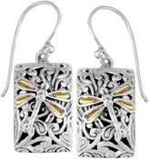 Sterling Silver 18K Gold Sweet Dragonfly Classic Rectangle Earrings