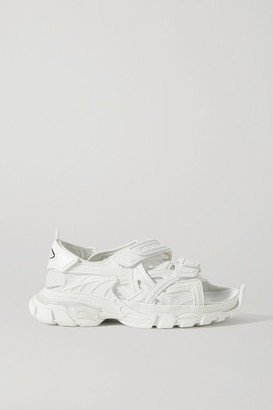 Balenciaga Track Logo-detailed Leather And Rubber Sandals - White
