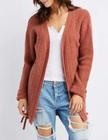Charlotte Russe Lace-Up Detail Open-Front Duster Cardigan