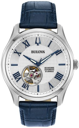 Bulova Men's Wilton Leather Automatic Skeleton Watch - 96A206