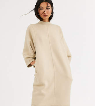 Monki cocoon shape midi t-shirt dress in beige