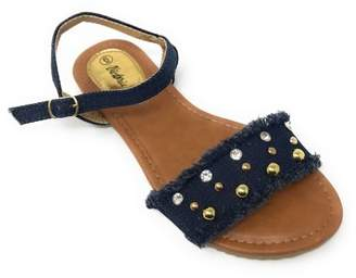 Forever Young Victoria K Women's Fringed Denim With Studs And Rhinestone Sandals