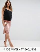Asos Over The Bump Velvet Midi Skirt with Thigh Split