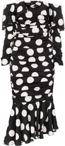 Dolce & Gabbana off-the-shoulder polka dot silk blend dress