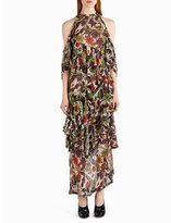 Jason Wu Strass Floral-Print Chiffon Cold-Shoulder Gown