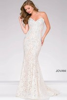 Jovani Crystal Embellished Strapless Lace Prom Dress 37334