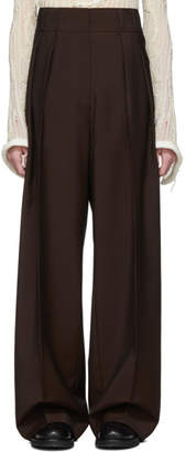 Acne Studios Brown Wool Pleated Wide-Leg Trousers