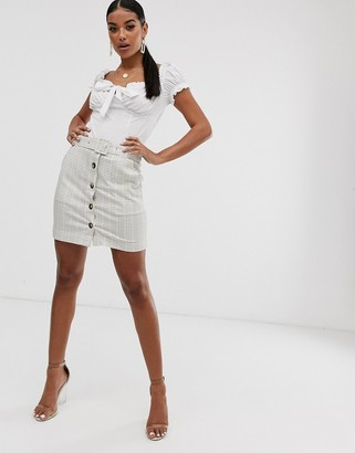 NA-KD Na Kd checked button through mini skirt with belt in off white-Beige