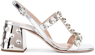 Miu Miu Jewel Sandals in Silver | FWRD