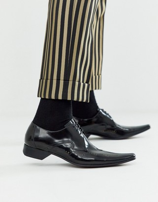 Jeffery West Pino etched shoe in black leather