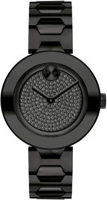 Movado 32mm BOLD Crystal Bracelet Watch, Black