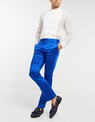 Twisted Tailor skinny tuxedo pants in cobalt blue