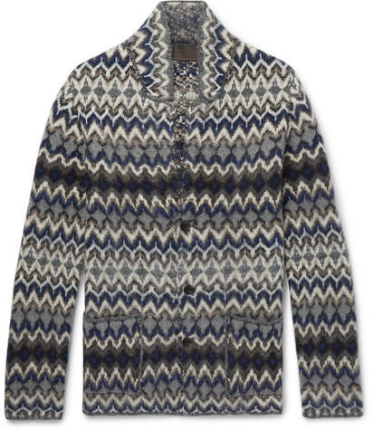 Altea Intarsia Wool-Blend Cardigan - Men - Gray
