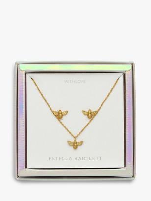 Estella Bartlett Bee Pendant Necklace and Earrings Jewellery Box Set, Gold