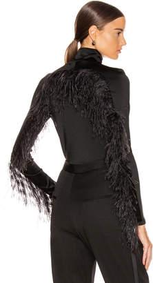 Proenza Schouler Long Sleeve Feathers Top in Black | FWRD
