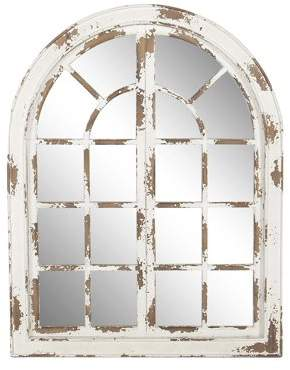 Decmode Traditional Wooden Whitewashed Arched Wall Mirror, White