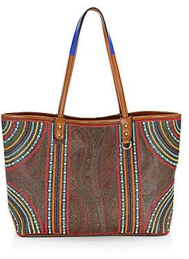 Etro Women's Multi-Color Beaded Paisley Shopping Tote