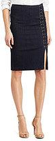 Lauren Ralph Lauren Petite Lace-Up Denim Pencil Skirt