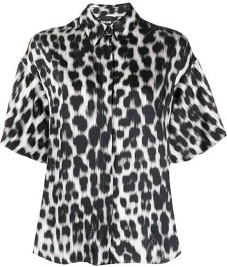 Just Cavalli Oversized Leopard-Print Satin Shirt