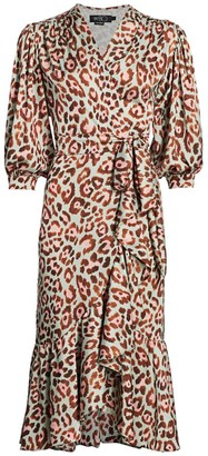 PatBO Leopard Print Midi Wrap Dress