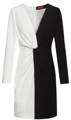 HUGO BOSS Long Sleeved Monochrome Dress With Knotted Waistline - Black