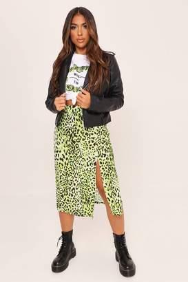 I SAW IT FIRST Green Leopard Print Split Front Midi Skirt