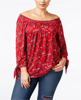 Style&Co. Style & Co. Plus Size Off-The-Shoulder Printed Top, Only at Macy's