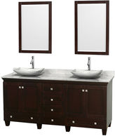 WYNDHAM COLLECTION Acclaim 72 inch Double Bathroom Vanity with WhiteCarrera Marble Countertop and Arista White CarreraMarble Sinks