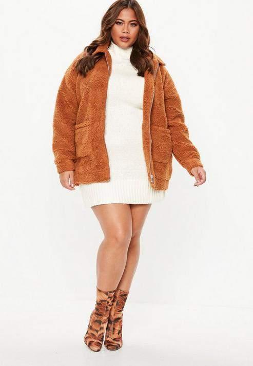 Missguided Plus Size Cream Turtle Neck Sweater Dress