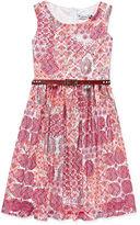 Speechless Sleeveless Multi Coral Aztec Lace Belted Skater Dress - Girls 7-16