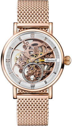 Ingersoll Herald Automatic with Rose Gold Ip Stainless Steel Case and Mesh Bracelet with Skeleton Dial