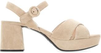 Prada Strap Suede Platform Sandals