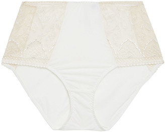 Maison Lejaby Embroidered Tulle And Stretch-jersey High-rise Briefs