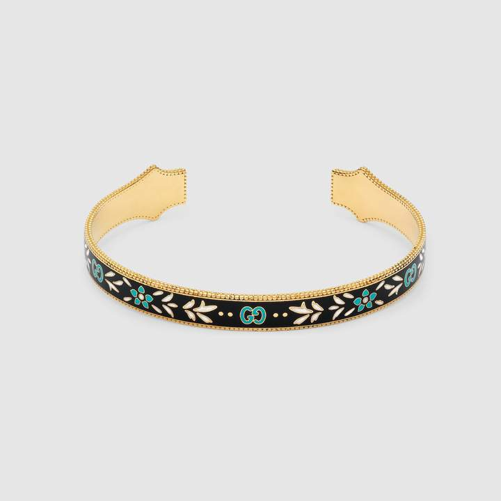 Gucci Icon bracelet in yellow gold with enamel