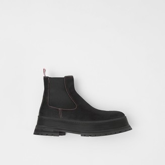Burberry Topstitched Suede Chelsea Boots