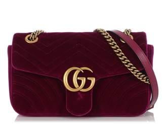 Gucci Marmont Burgundy Velvet Handbags