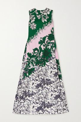 Erdem Odalys Floral-print Cotton-sateen Gown - Green