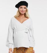 Asos DESIGN Maternity volume sleeve wrap jumper