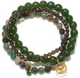 Satya Jewelry Jade, Fancy Jasper, Smokey Quartz Gold Plate Evil Eye Stretch Bracelet