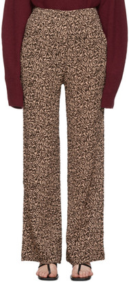 Nanushka Pink and Brown Animal Kisa Trousers