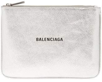 Balenciaga Metallic-leather Logo Pouch - Womens - Silver