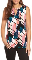Chaus Women's Abstract Exhibit Keyhole Top