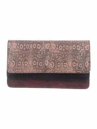 Dries Van Noten Embossed Leather Clutch Pink