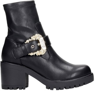 Versace Combat Boots In Black Leather