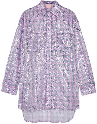 Natasha Zinko Houndstooth sequin-embellished shirt