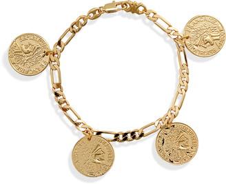 Sterling Forever Figaro Charm Bracelet