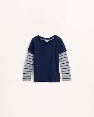 Splendid Little Boy Stripe Sleeve Layered Top