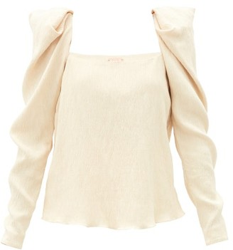Johanna Ortiz Grass Like Sand Crinkled-crepe Top - Cream